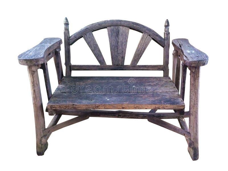 在白色背景隔绝的葡萄酒老木椅子 免版税库存照片