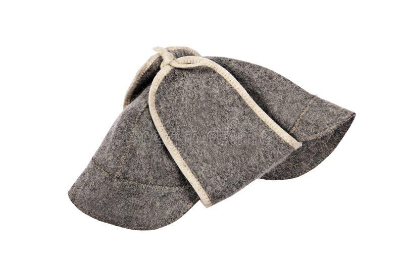 在白色隔绝的蒸汽浴帽子 免版税库存照片