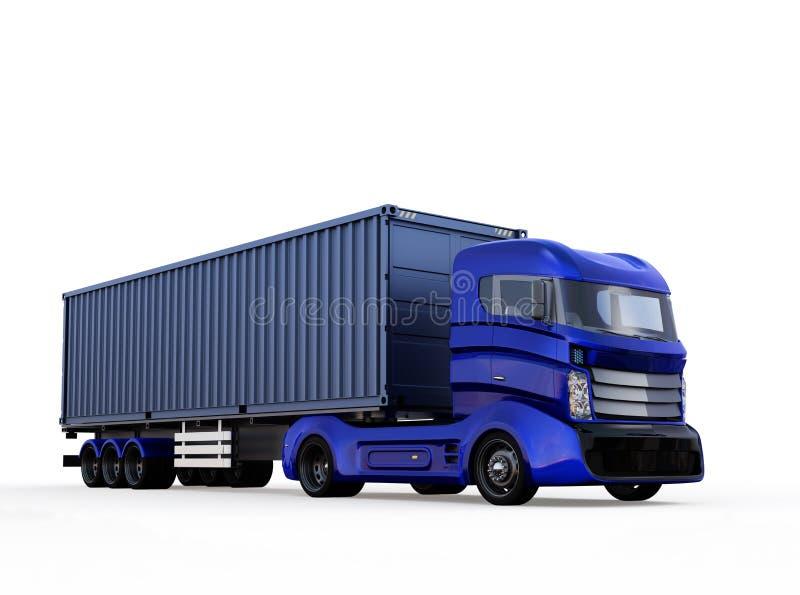 在白色背景隔绝的蓝色容器卡车 库存例证