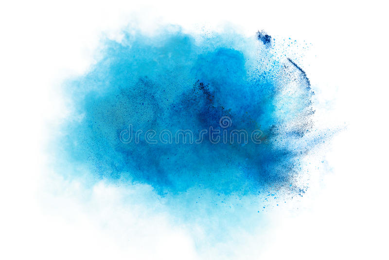 在白色背景隔绝的蓝色尘末爆炸 免版税图库摄影