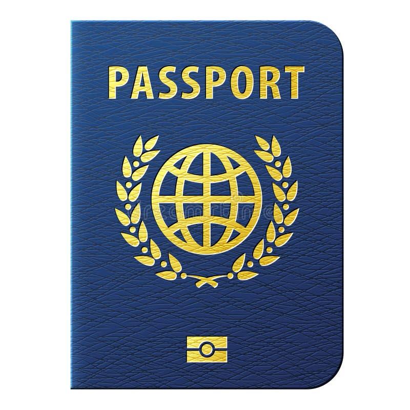 在白色背景隔绝的蓝色护照 向量例证