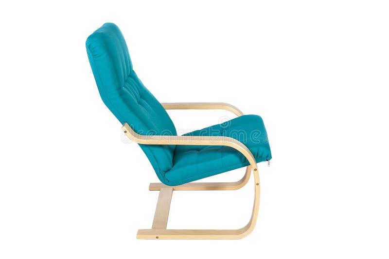 在白色背景隔绝的蓝色晃动椅子 免版税库存照片