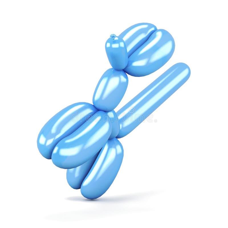 在白色背景隔绝的蓝色狗气球 3d回报image.colorful圆筒 免版税库存图片