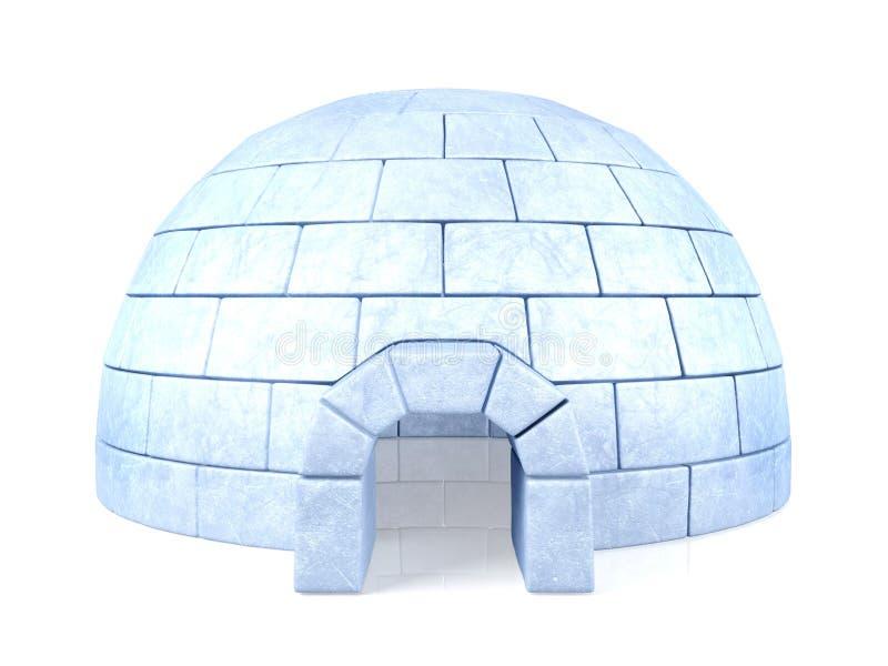 在白色背景隔绝的被冰的园屋顶的小屋 库存图片