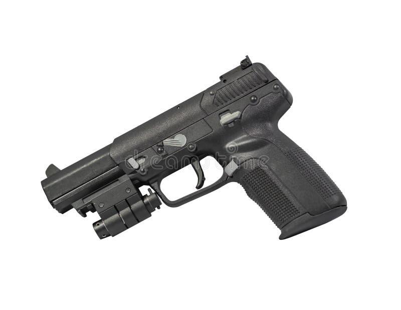 在白色背景隔绝的装甲贯穿的手枪 免版税库存照片