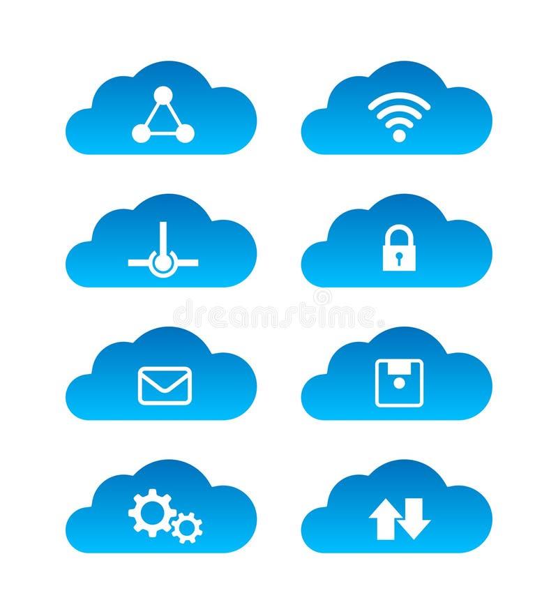 在白色背景隔绝的计算的云彩技术象集合 皇族释放例证