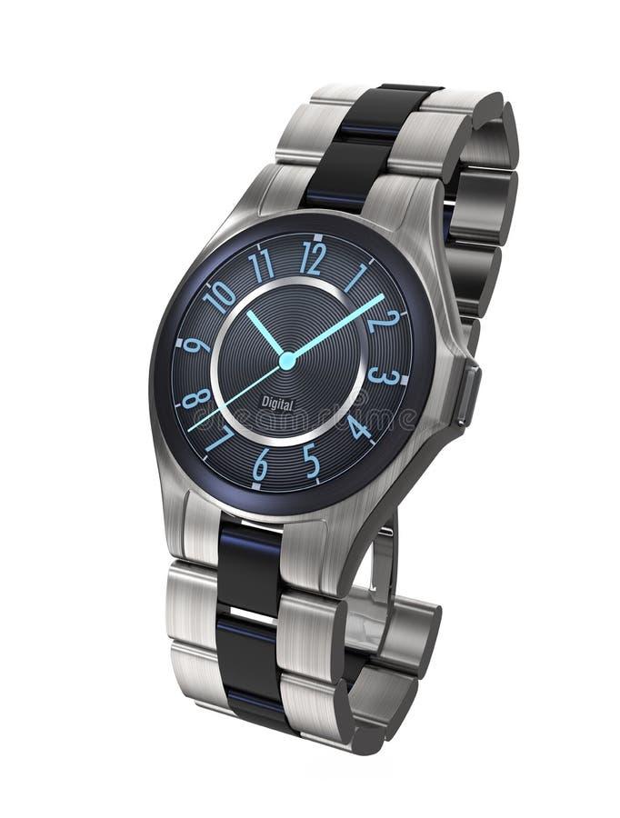 在白色背景隔绝的豪华巧妙的手表 向量例证