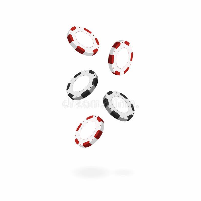 在白色背景隔绝的赌博娱乐场芯片 落的现实3d赌博的芯片 向量例证