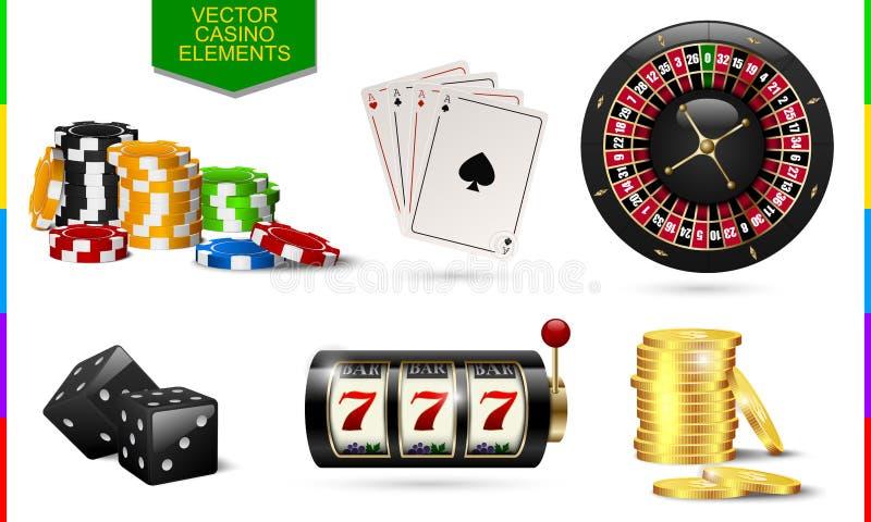 在白色背景隔绝的赌博娱乐场象 切削,啤牌卡片,轮盘赌,老虎机 皇族释放例证