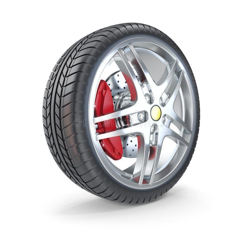 在白色背景隔绝的跑车轮子 3d例证 库存例证
