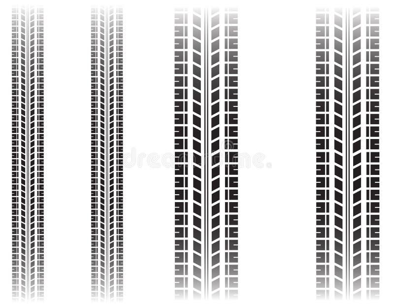 在白色背景隔绝的轮胎标记 库存图片