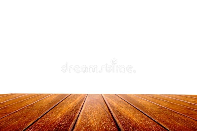 在白色背景隔绝的透视木桌 库存图片