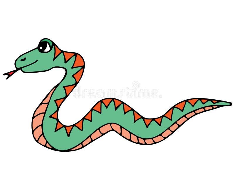 在白色背景隔绝的逗人喜爱的五颜六色的蛇 皇族释放例证