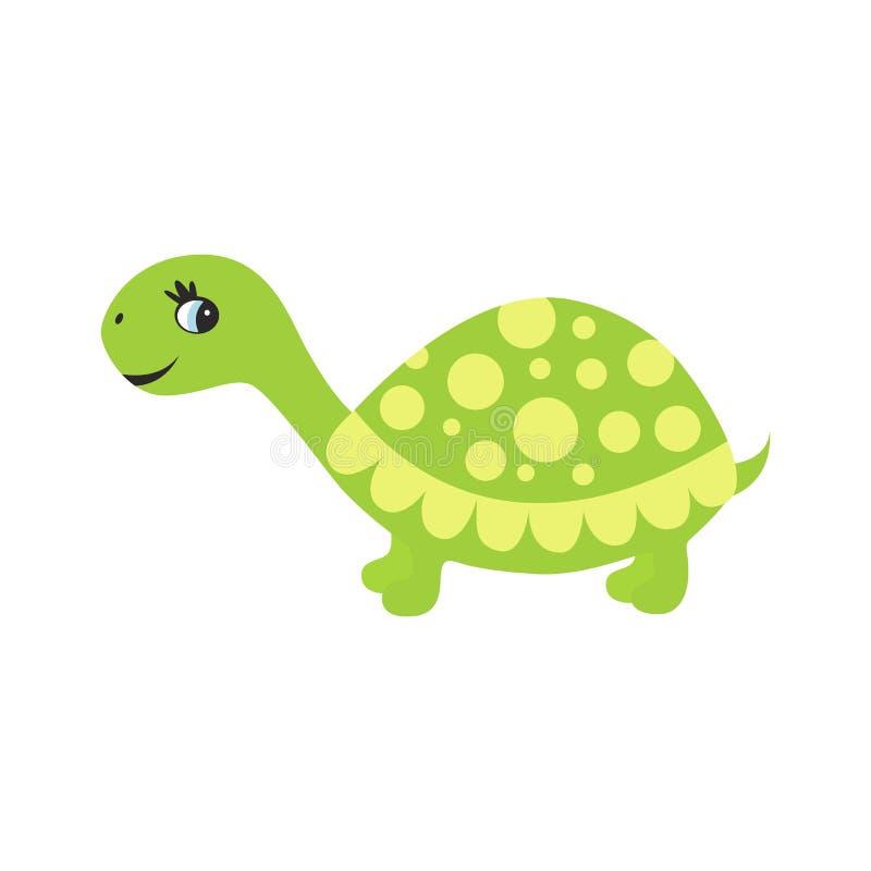 在白色背景隔绝的逗人喜爱的动画片乌龟 向量例证