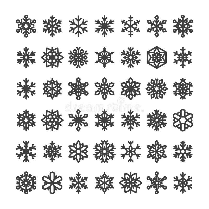 在白色背景隔绝的逗人喜爱的雪花收藏 平的雪象,雪剥落剪影 圣诞节禁令的好的雪花 库存例证