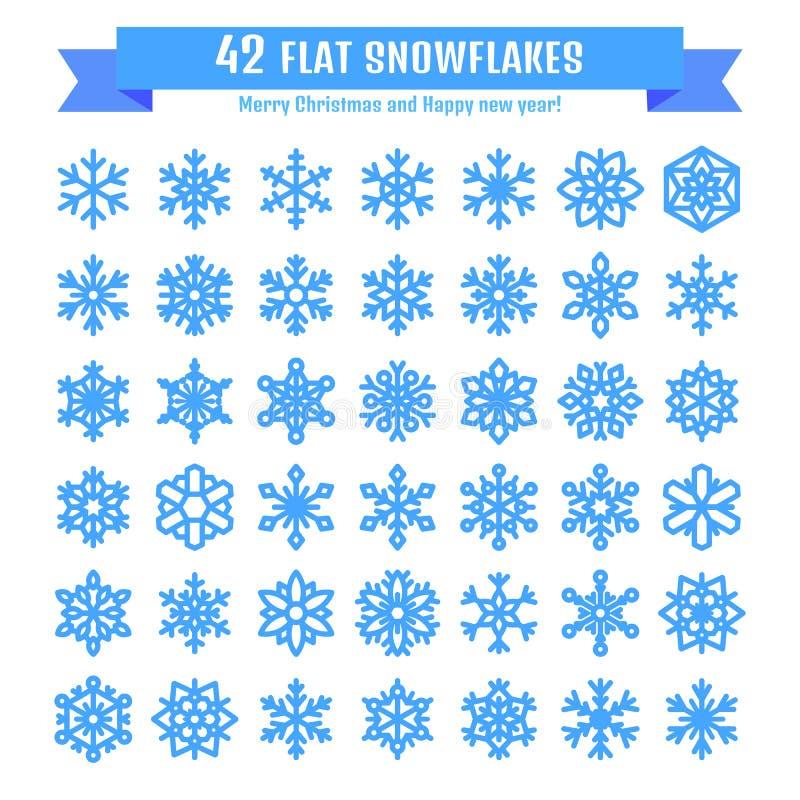 在白色背景隔绝的逗人喜爱的雪花收藏 平的雪象,雪剥落剪影 圣诞节bann的好的雪花 库存例证