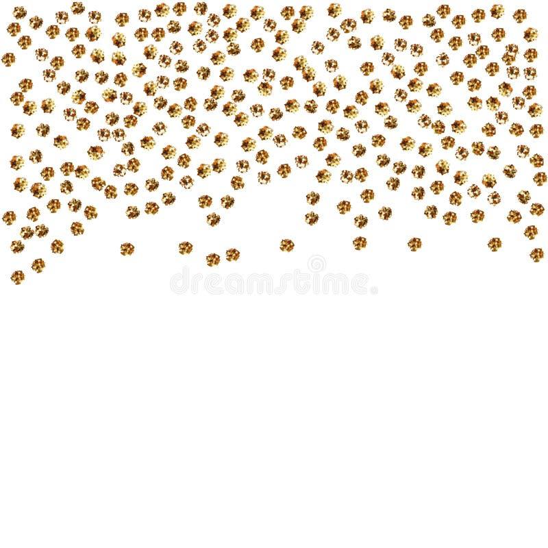 在白色背景隔绝的金小点 党,生日的落的金黄抽象装饰庆祝,周年或事件, fe 皇族释放例证