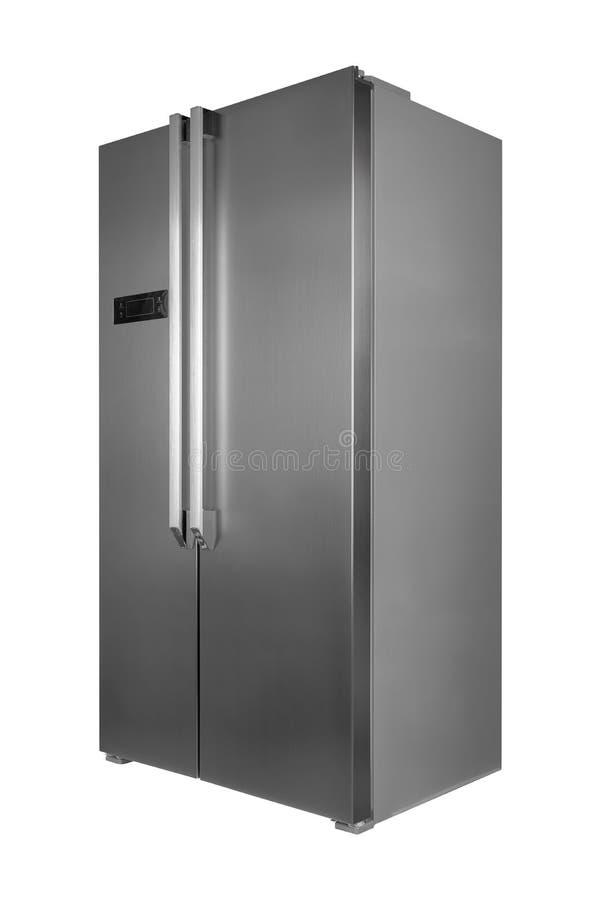 在白色背景隔绝的金属冰箱 免版税库存照片
