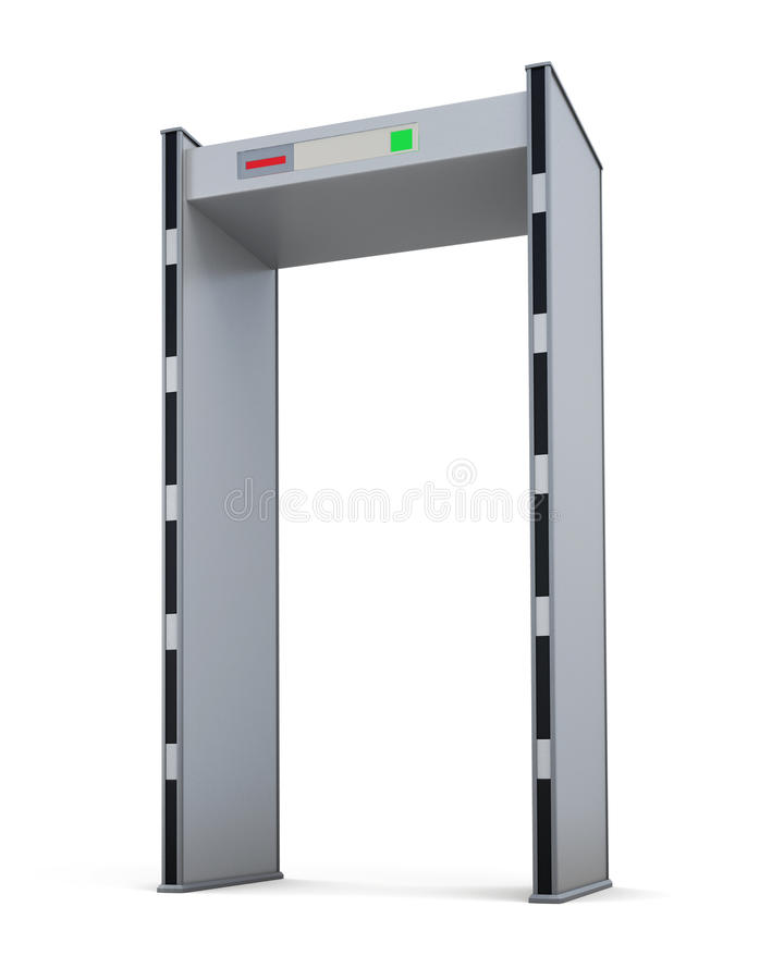 在白色背景隔绝的金属探测器门 3d翻译 皇族释放例证