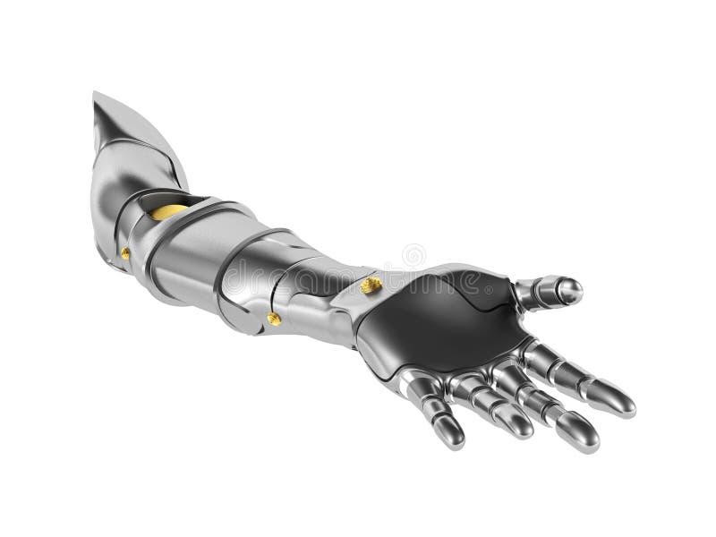 在白色背景隔绝的金属机器人胳膊 向量例证