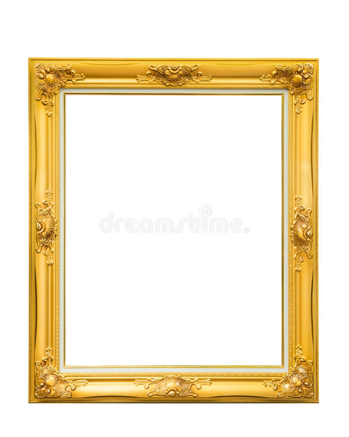 在白色背景隔绝的金黄路易丝葡萄酒照片框架 免版税库存图片