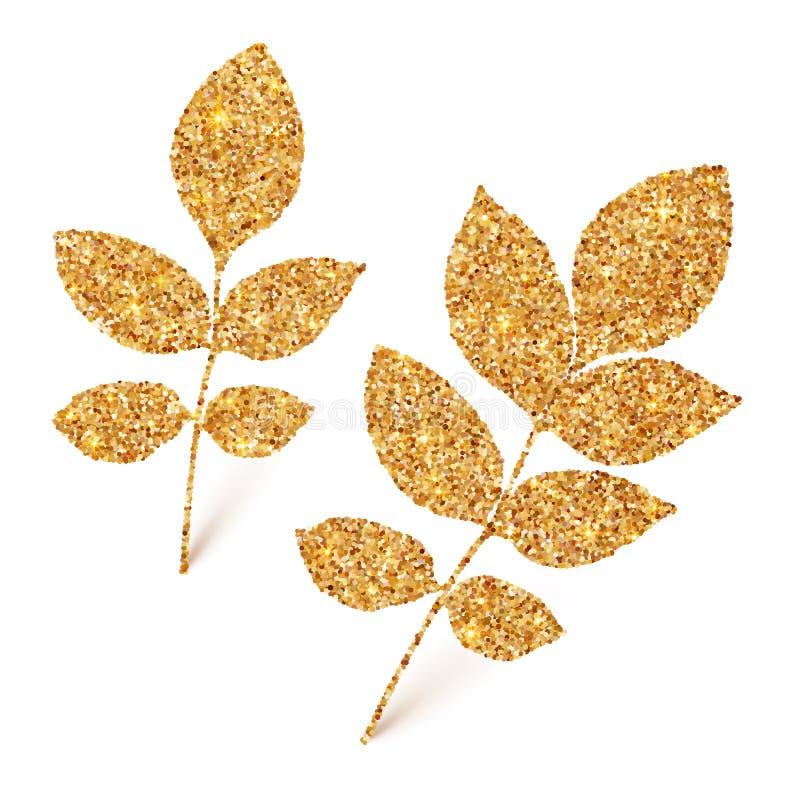 在白色背景隔绝的金黄闪烁叶子 皇族释放例证