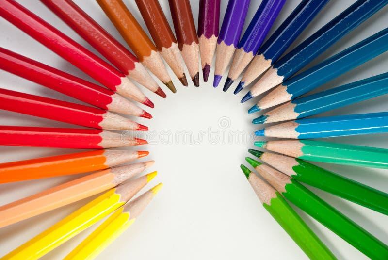 在白色背景隔绝的铅笔 免版税库存照片