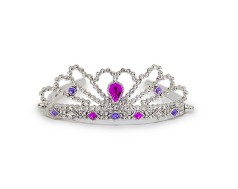 在白色背景隔绝的银色公主冠 免版税库存照片