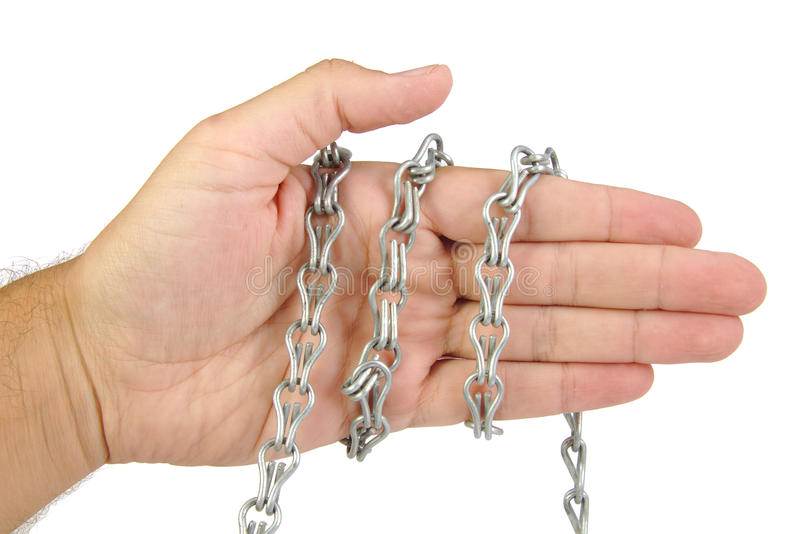 在白色背景隔绝的链子的手 库存照片
