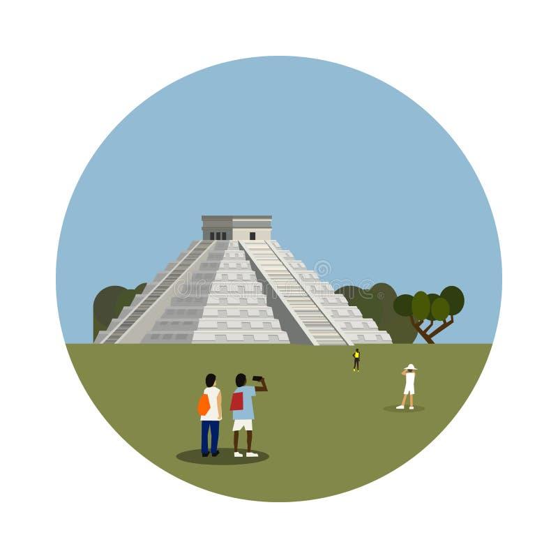 在白色背景隔绝的阿兹台克金字塔象 皇族释放例证