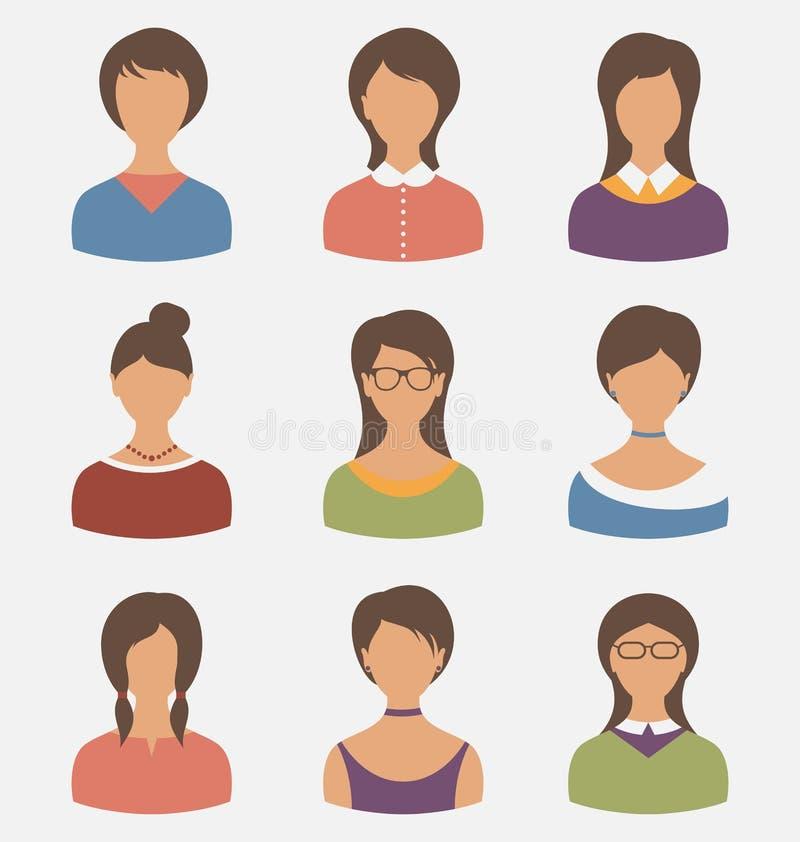 在白色背景隔绝的集合女性角色 库存例证