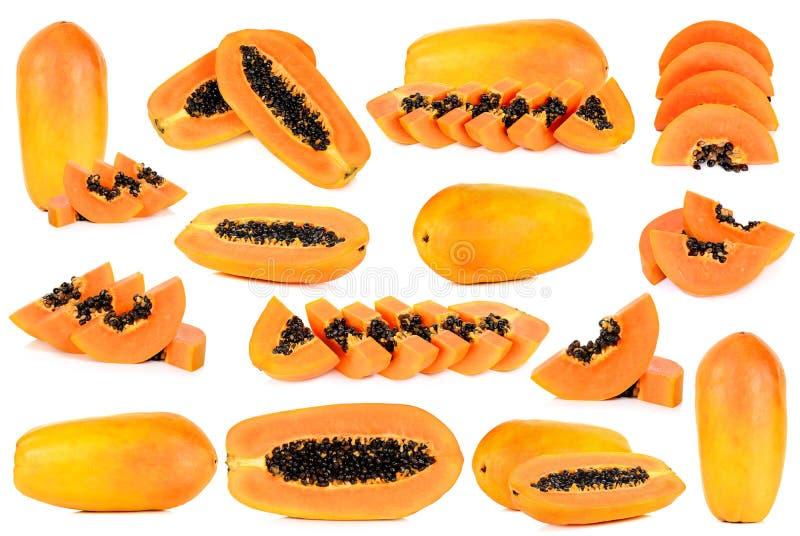 在白色背景隔绝的集合成熟番木瓜 免版税库存图片