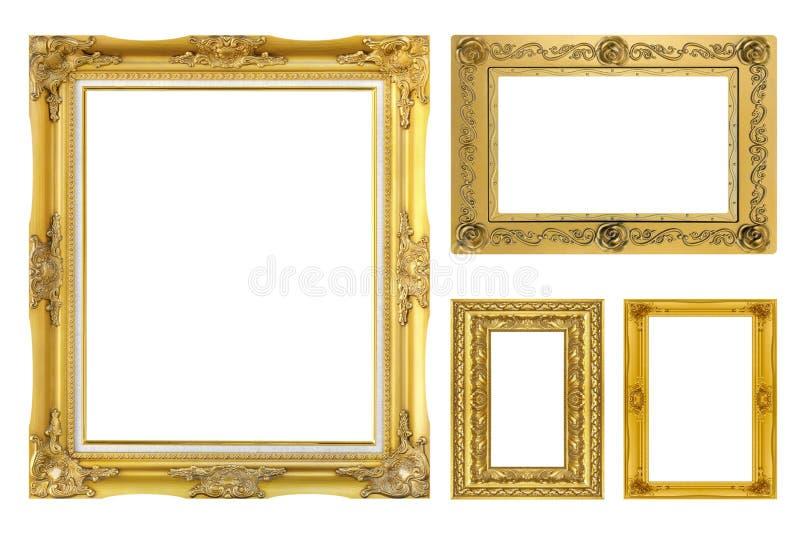 在白色背景隔绝的集合金黄框架 图库摄影