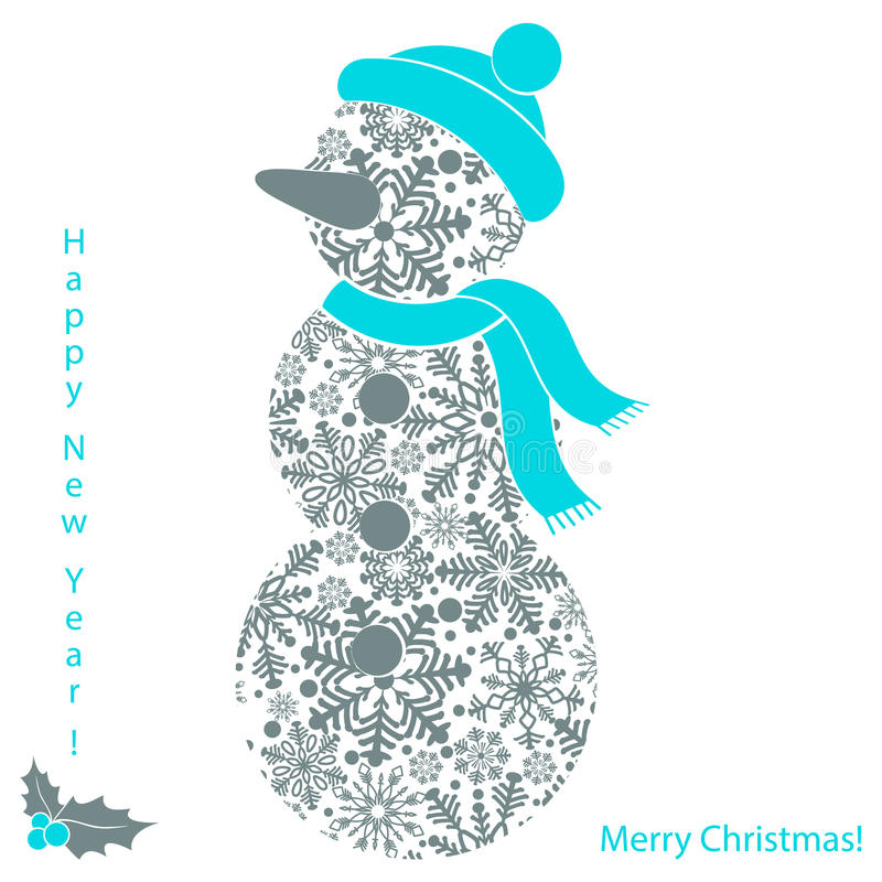 在白色背景隔绝的雪花圣诞节雪人,新年卡片 库存例证