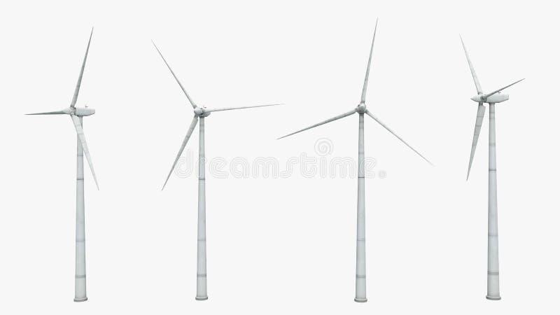 在白色背景隔绝的风轮机 库存例证