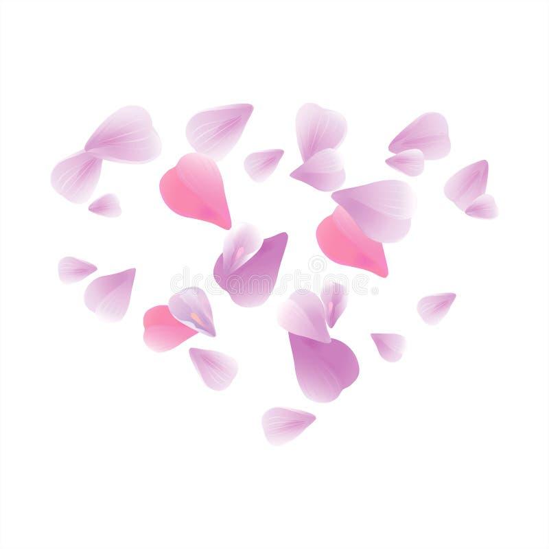 在白色背景隔绝的飞行的浅粉红色的紫色瓣 玫瑰花瓣心脏 落的樱桃花 传染媒介EPS 10 cmyk 库存例证