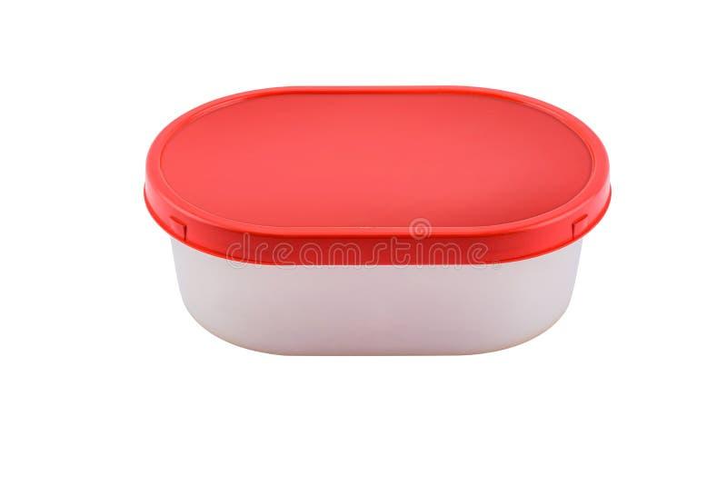 在白色背景隔绝的食物的空的容器 免版税库存图片