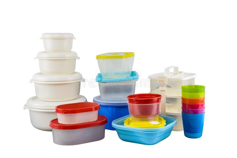 在白色背景隔绝的食物的空的容器 图库摄影