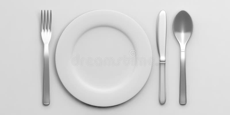 在白色背景隔绝的餐位餐具 3d例证 库存例证