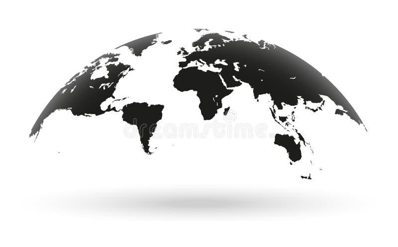 在白色背景隔绝的黑世界地图地球 皇族释放例证