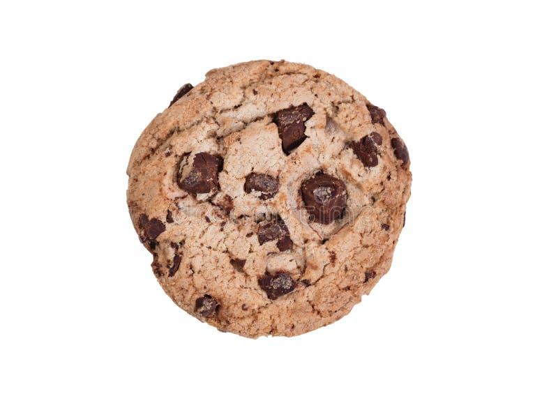 在白色背景隔绝的整个黑暗的巧克力曲奇饼 免版税库存图片