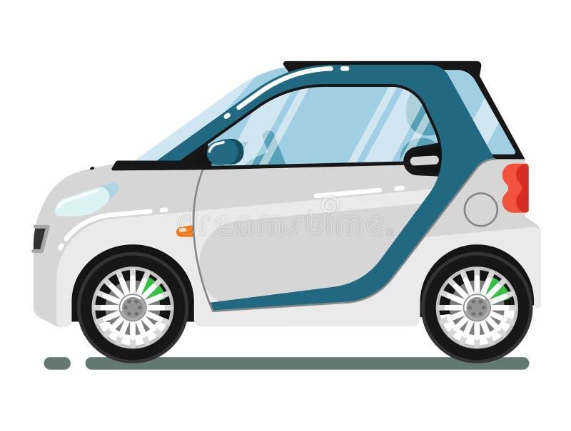 在白色背景隔绝的紧凑巧妙的小轿车 向量例证