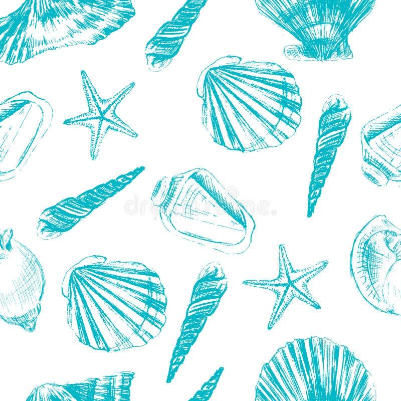 在白色背景隔绝的贝壳手拉的向量图形蚀刻剪影,无缝的样式,水下艺术性 向量例证