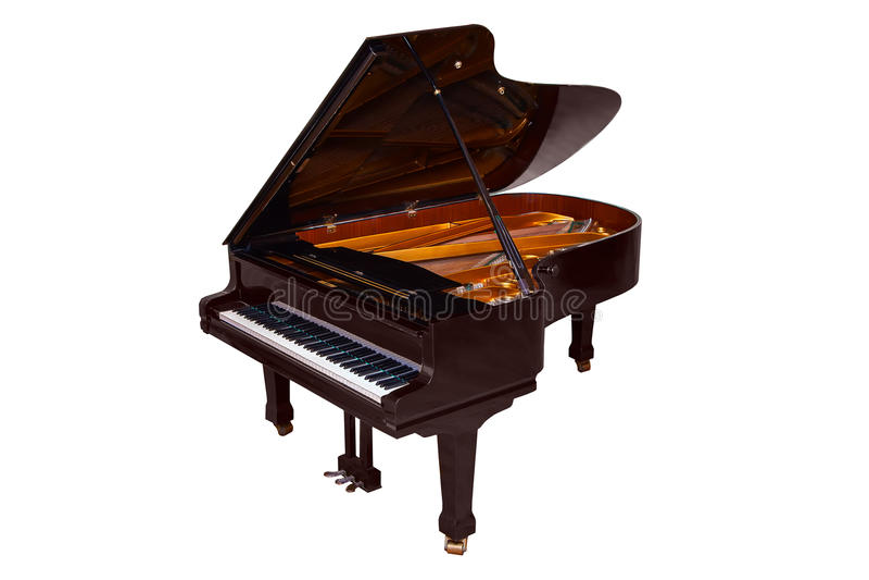 在白色背景隔绝的黑大平台钢琴 库存例证