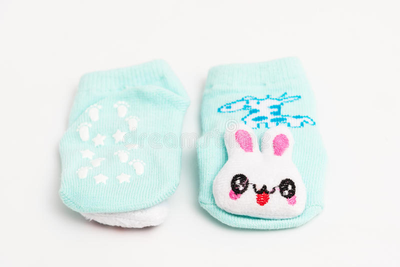 在白色背景隔绝的婴孩袜子 图库摄影
