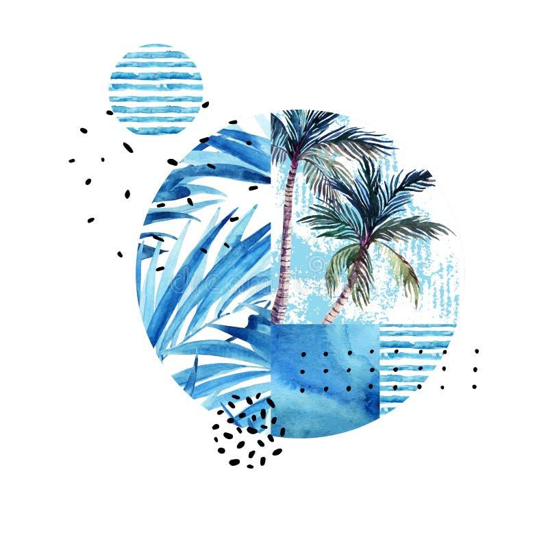 在白色背景隔绝的水彩热带花卉几何形状 向量例证