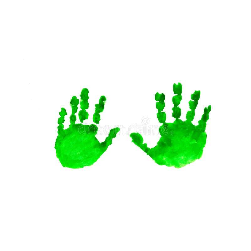 在白色背景隔绝的水彩绿色孩子handprint 孩子手印刷品 儿童的手被隔绝的版本记录  免版税图库摄影