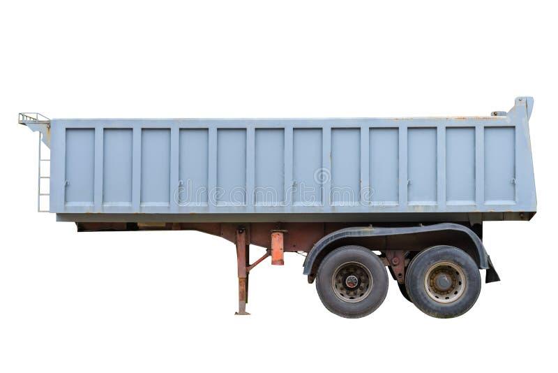 在白色背景隔绝的翻斗车的拖车 免版税库存照片