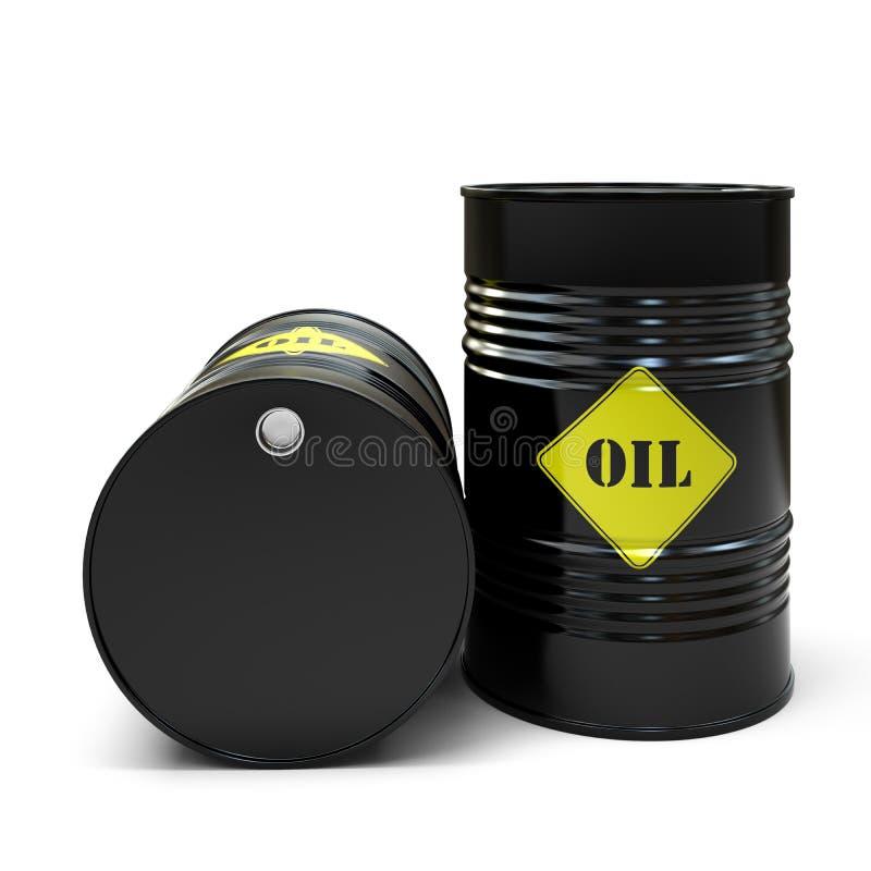在白色背景隔绝的黑油桶 库存例证