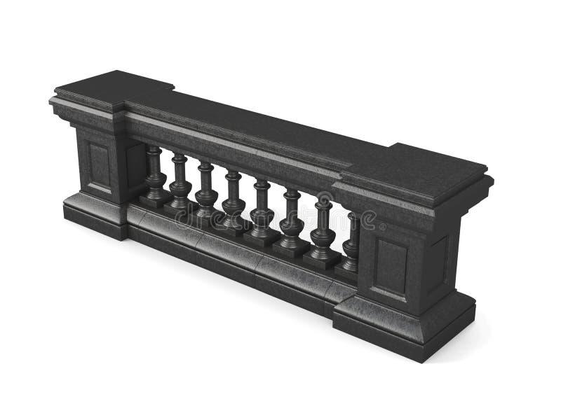 在白色背景隔绝的黑石楼梯栏杆 3D renderin 库存例证